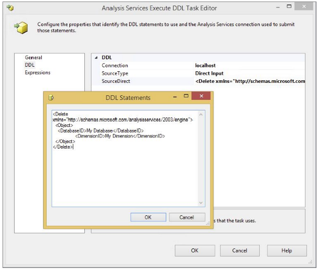 analysis services execute ddl