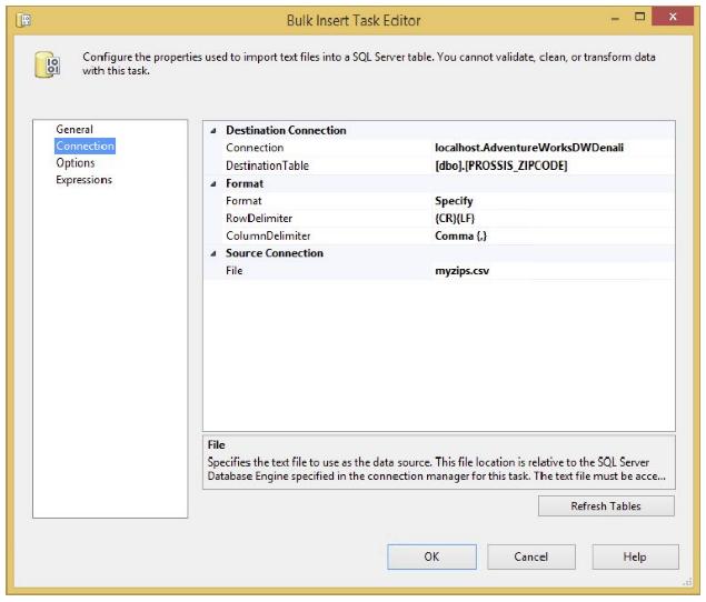 Bulk Insert Task Editor