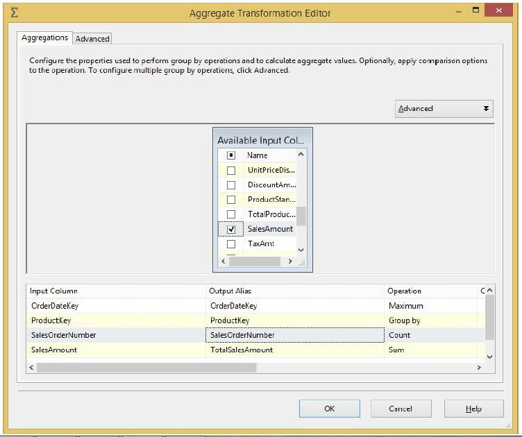 Aggregate Transformation editor