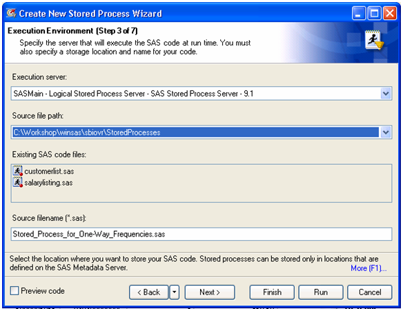 Stored Process Wizard