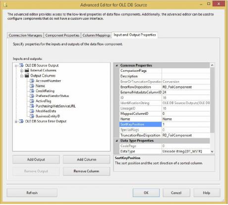 OLE DB source editor
