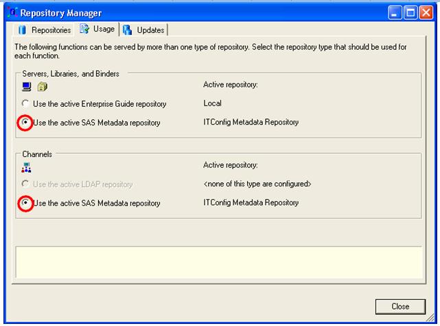 Active SAS Metadata repository