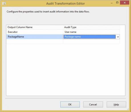 Audit Transformation editor