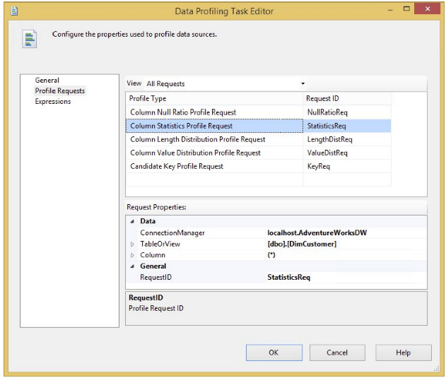 Data Profiling Task Editor
