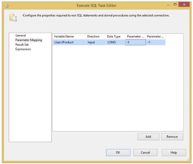 SQL statement in the Parameter