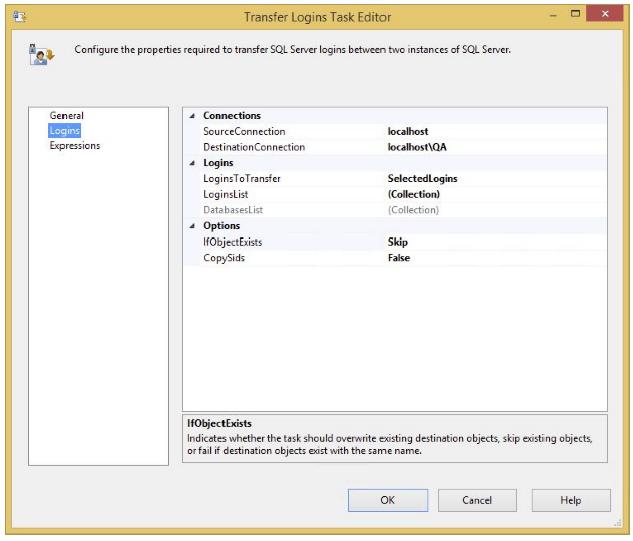 Logins task editor