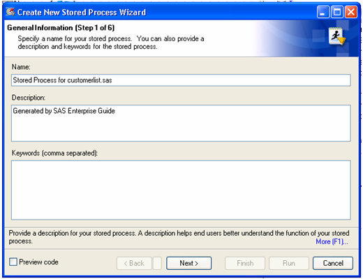 New Stored Process Wizard