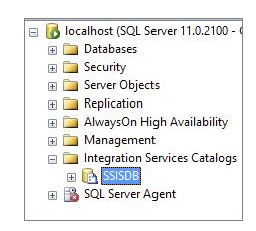 Integration Services Catalogs folder