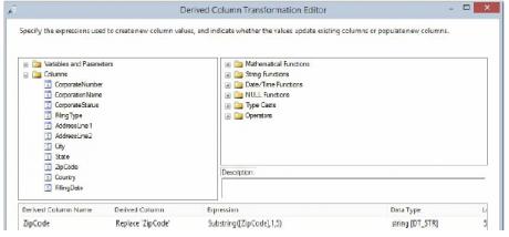 Derived Column Transmission Editor