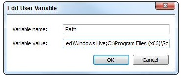 Editing the PATH system variable through the windows control panel