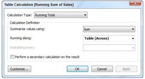 The table calculation editing menu diagram