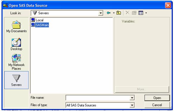 open sas data source