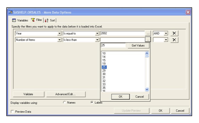 SAS Add-In for Microsoft Office provides many options, including the ability to subset and/or sort data
