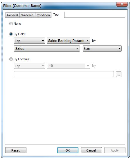 Quick filter with sales parameter