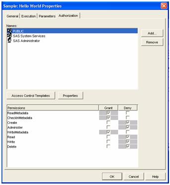 Authorization tab