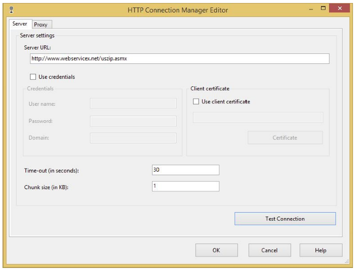 HTTP connection editor