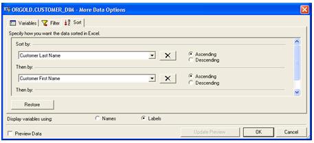 Sorting SAS Data in Microsoft Excel
