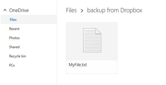 A new file is created on OneDrive