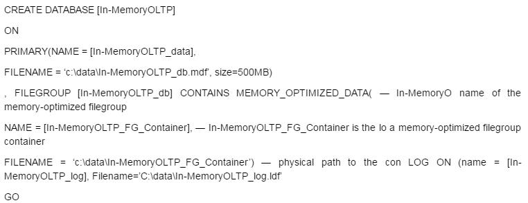 Enable In-Memory OLTP
