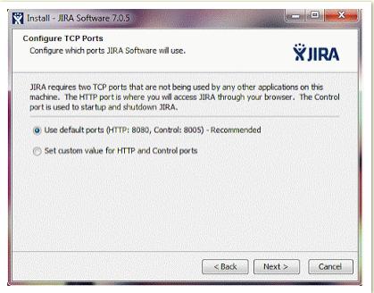 Configure TCP Ports JIRA