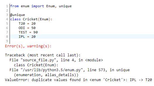 Duplicate enum number