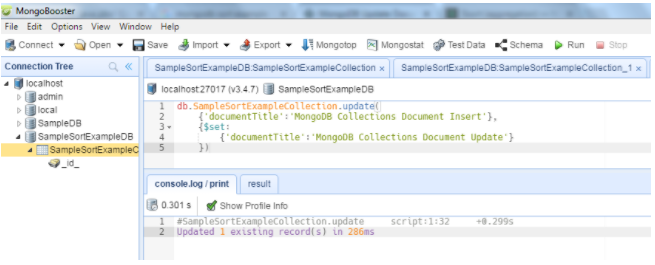 MongoBooster GUI tool