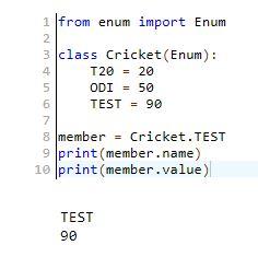 Parameters of the member