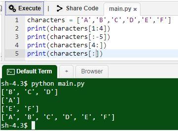 Python Slicing Operator