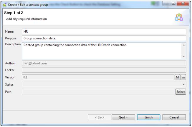 Create/Edit context group screen 1