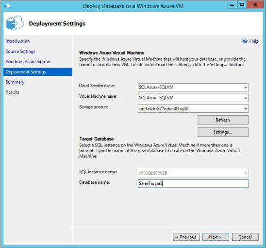 Windows Azure Virtual Machine in the Deploy Database