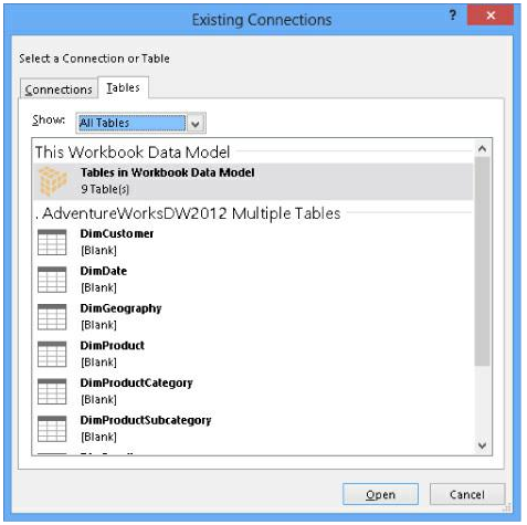 Existing Connections dialog box