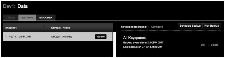 DataStax OpsCenter's backup interface