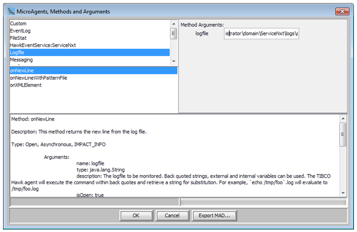 Select onNewLine method in the LogFile Microagent to monitor the contents of an SLA file