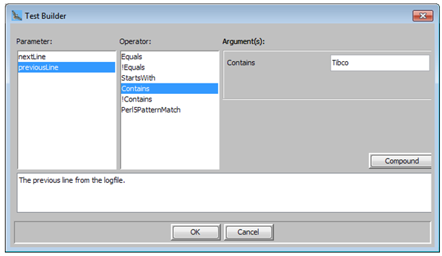 Provide the test condition values in the Test Editor