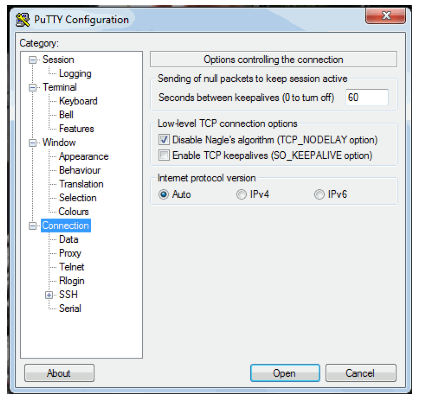 PuTTY Configuration window
