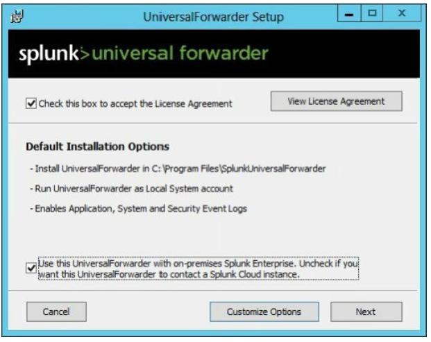 Universal forwarder on Windows