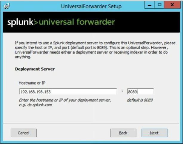 Universal forwarder setup