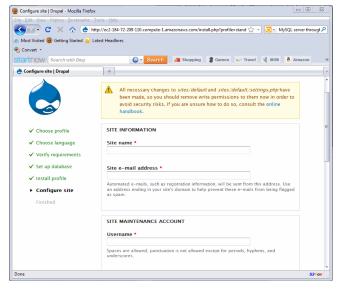Configure site page