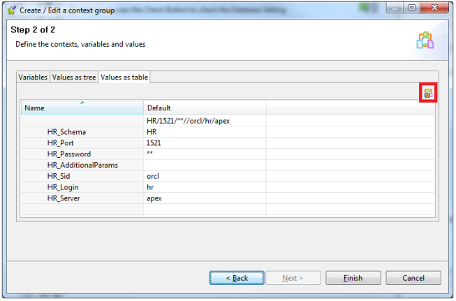 Create/Edit context screen 2