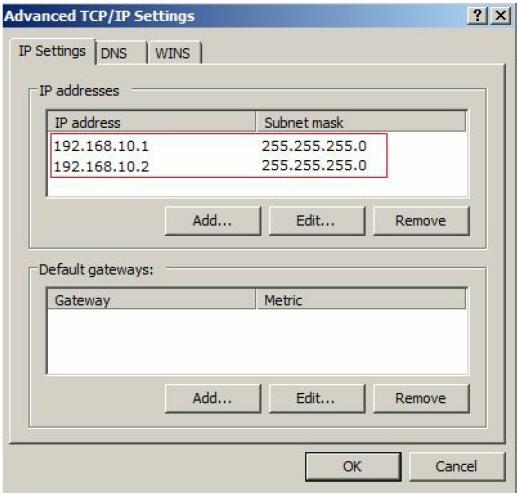 Advances TCP/IP Settings