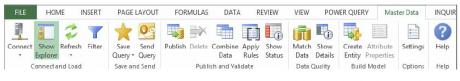 Excel Master Data Ribbon