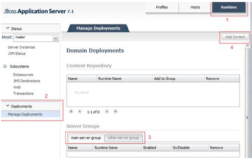Deploying to an AS domain using the Admin console