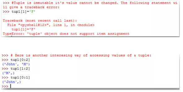 A variable can be assigned to a Tuple