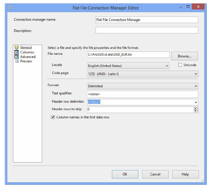 Flat File Connection Manager Editor