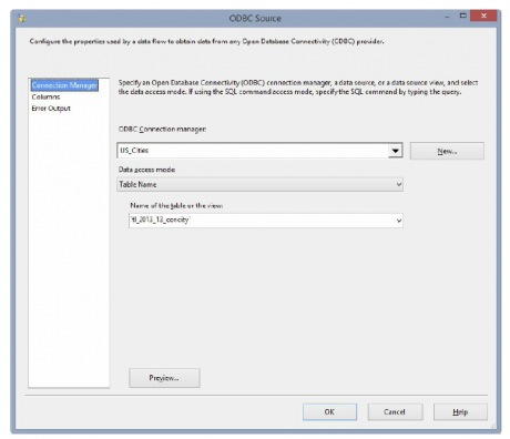 ODBC Source Editor dialog