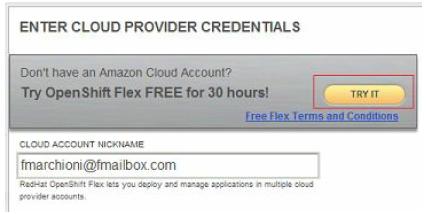OpenShift Flex account1