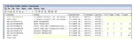 SQL Server by using Profiler
