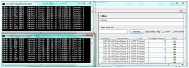 JMeter test run dialog