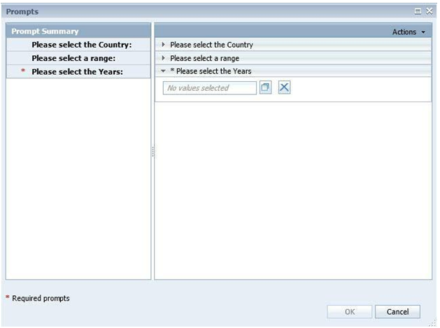 Prompting UI in Analysis, edition for OLAP