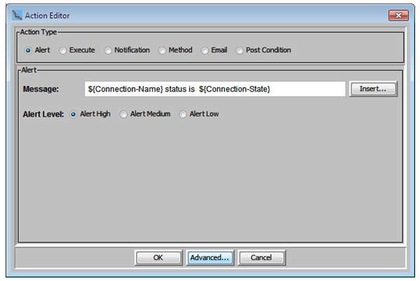Action editor displays the connection status